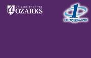 Ozarks text on a purple background with the First National Bank at Paris logo