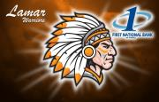 Lamar warriors chief logo with the First National Bank at Paris logo
